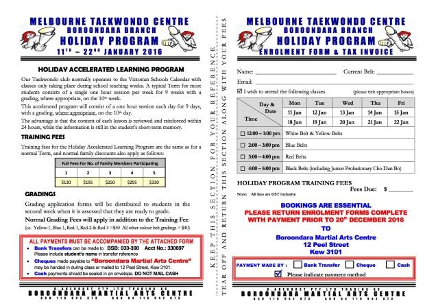 Enrolment Form - Holiday Program (Jan -2016)